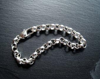 Chunky Silver Chain Bracelet, Charm Bracelet, Heavy Chain Bracelet, Rolo Chain, Ladies Bracelet, Chunky Silver Chain, Mens Bracelet (B80*)