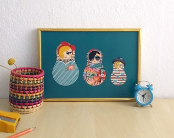 A4 poster matryoshka Trio 1: Pin-up, graffiti, hipster, babushka, Russian dolls, print, print, wall decoration