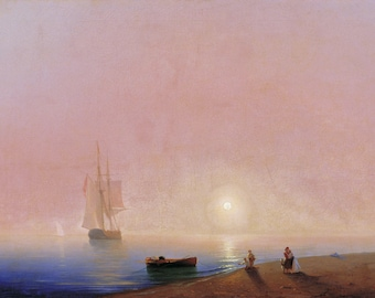 100% Hand Painted Farewell by Ivan Aivazovsky sea sailing painting for bed room  wall art  or gift