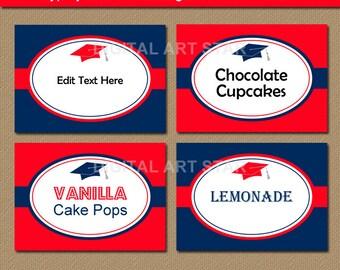 Graduation Candy Buffet Labels, Tent Cards, Graduation Food Label Template, Place Cards, EDITABLE Buffet Cards, 2018 Graduation Food Tags G1