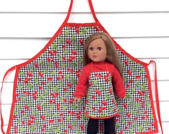 18 Inch Doll and Girl Matching Aprons, Cherry Aprons for A Doll and Her Girl, Girl's Size Large