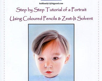 Step by Step Art Tutorial - How to do a Portrait using Coloured Pencils and Zest-it Pencil Solvent