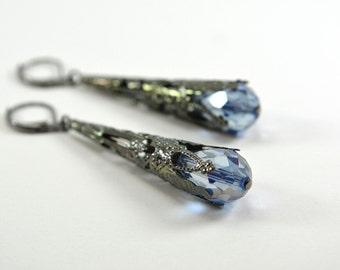 Long Periwinkle Earrings Gunmetal Dark Silver Filigree Dangle Earrings Light Blue Victorian Steampunk