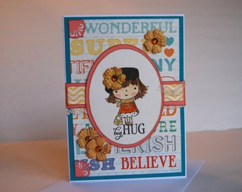 Big Hug - Handmade Greeting Card, Penny Black Stamped Image , Bonjour Stamp, Send a Hug
