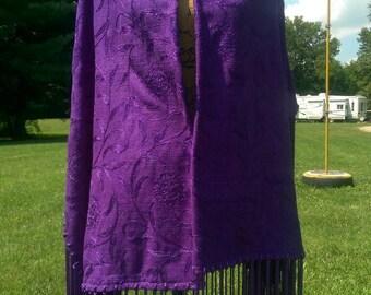 Purple Majesty, Native American Style Shawl, PowWow, Regalia, Prayer,Meditation, 14in Fringe,*