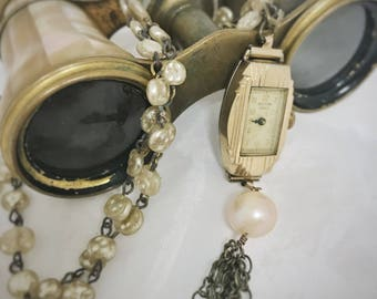 Steampunk Vintage Watch Necklace With Upcycled Bead Chain