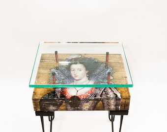 Queen Of Bohemia Side Table with Glass Top