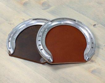 Leather Horseshoe Drink Coaster - Free Monogram / Personalization