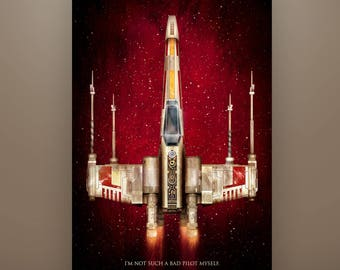 "Star Wars Inspired, ""X-Wing: 40th Anniversary"" Art Print Luke Skywalker"