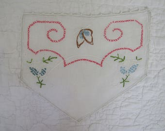 Vintage Embroidered Linen for the back of Chair Headrest not perfect