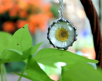 Daisy Pendant on Sterling Silver Chain