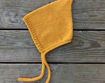 Baby Pixie Hat, Baby Hat 12-24 months, Yellow Mustard Bonnet, Alpaca Wool Baby Hat, Kids Hats, Vintage Baby Bonnet, Baby Hat With Ties