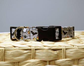 Dog Collar – Halloween Dog Collar – Fall Print Dog Collar – Halloween Print Dog Collar - Handmade Fabric Dog Collar