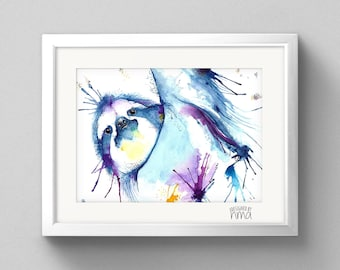 A4 Sloth Watercolour Print
