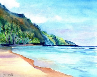 Ke'e Beach 2 - Kauai Kee Beach - 8 x 10 Giclee Art Print - Kauai North Shore Paintings -  Kauai Beach Art Prints - Na Pali Coast Decor
