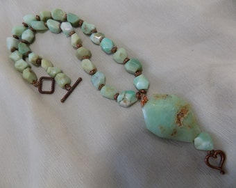 Chrysophrase Nugget and Pendant Necklace