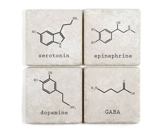 Neurotransmitter Biochemistry Molecule Coasters, Set of 4, Pick Your Own, Serotonin, Dopamine, Oxytocin