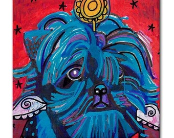 50% SALE- Affenpinscher Dog art Tile Ceramic Coaster Print of painting by Heather Galler