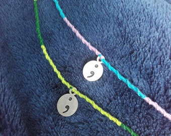 Mental health awareness bracelet - suicide awareness bracelet - semi colon charm - mental health bracelet