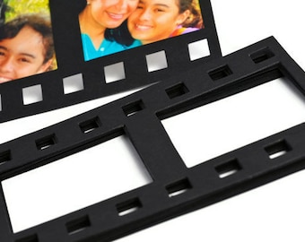 READY TO SHIP | Filmstrip negative frame die cuts. Black picture frame scrapbooks Valentines gifts. Photography picture photo camera