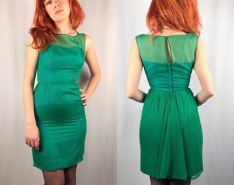 Vintage 1960's Green Chiffon Dress