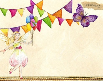 8X11 Custom premade fairy paper scrapbooking pages