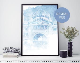 Flinders Street Station, Melbourne Watercolour Print Wall Art | Print At Home | Digital Download File