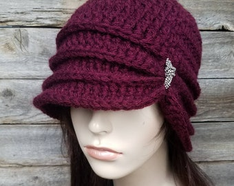 Vintage Inspired Cloche Hat with Glass Beading, Flapper Hat, Women's Hat Burgundy Hat 1920s Style Hat Womens Winter Hat, MADE TO ORDER