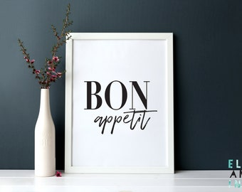 Bon Appetit // Kitchen // Dining // Home Decor // Wall Art // Sign // Poster // A3 // A4 // A5 // Typography // Food // Monochrome //