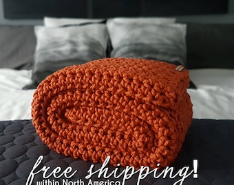 Pumpkin Crochet Blanket,  Afghan, Orange Throw Blanket, Chunky Crochet Throw, Crochet Blanket, Couch Blanket, Rug