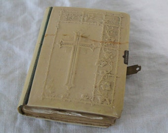 Vintage French Prayer Book // Missel // Bible with Ivory Cellulose cover // Paroissien //