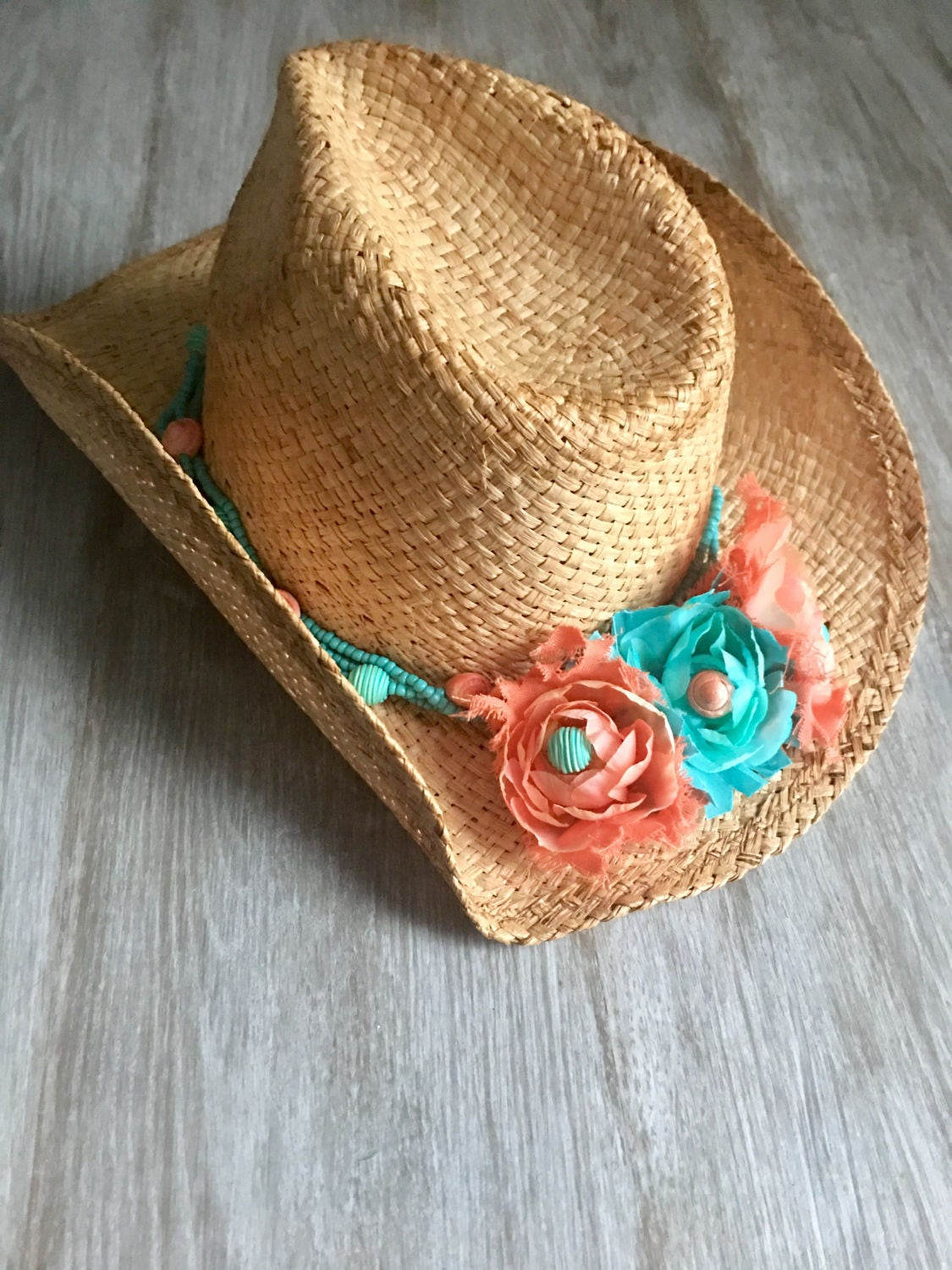 Coral and aqua Turquoise and coral sun hat beachy cowgirl 12dd6991e34