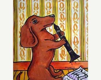 25% off dachshund art - Dachshund PRINT - 11x14 dog art PRINT poster gift , clarinet, dachshund art, dog, art - dachshund gifts