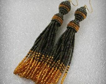 Beaded tassel earrings , Long  beads earrings ,  tribal style , boho style , Seed  Beaded Earrings , tassel earrings , Fashion earrings