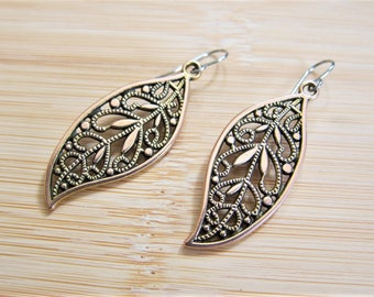 Leaf Filigree Bali Style Earrings Rose Gold Tone - New in March