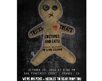 Voodoo Doll Halloween Invitation (Digital Printable)