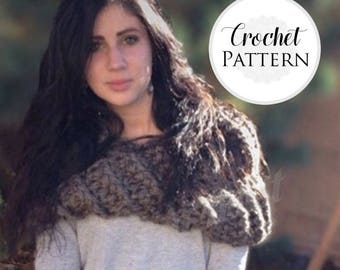 Chunky Cowl CROCHET PATTERN - Highland Cowl Crochet Pattern -  Crochet Cowl Pattern - Beginner Crochet - Circle Scarf - Highlander - Caplet