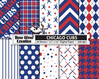10 Chicago Cubs Digital Papers for Scrapbooking, Digital Paper, Digital Scrapbook Paper, Printable Sheets, Baseball, Patterns