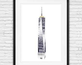 NYC One World Trade Center Poster - 1 WTC Building - Freedom Tower Financial District New York City, Type Print Poster