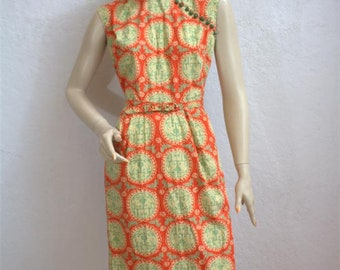"1940's / Early 1950's ""Dolly Myers"" Cotton Print Dress / Asian Inspired / Size: 25"" Waist"