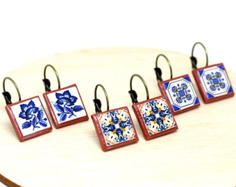Square portuguese tile earrings, small dangle earrings, casual earrings, ceramic antique earrings, free nickel, anniversary gifts for women