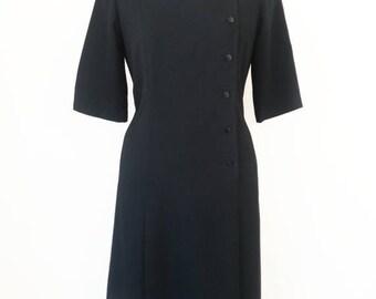 Japanese Vintage Dress / LIttle Black Dress / Leaves Knitted Dress / Side Button Dress / Black Suit Dress / Size S M