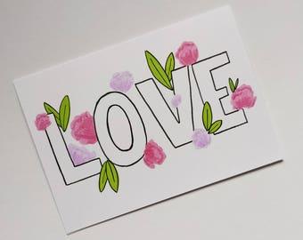 Modern Floral Love Greetings Card