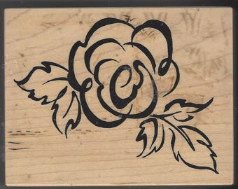 Brush Art Large Rose and Leaves Stamp PSX K2227 Wood Mounted Rubber Stamp Perfect for Card Making, Scrapbooking, Invitations