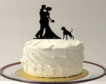 MADE In USA, With Pet Dog Wedding Cake Topper Silhouette Wedding Cake Topper Bride + Groom + Dog Pet Family of 3 Cake Boxer Pitbull Topper