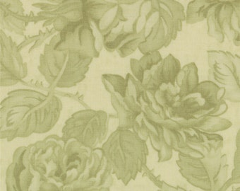 Paris Flea Market - Moda Fabric - Half Yard - Floral Damask Tonal Light Green Large Scale Flowers Cotton Quilt Fabric 3 Sisters 3725 29