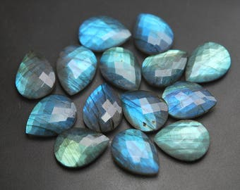 Undrilled,10 Beads,Super Finest Blue Flash Labradorite Faceted Pear Shape Size 16x20mm
