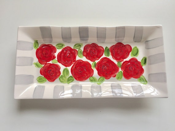 Run for the Roses, horse lover, horseracing, hand painted, ceramic, serving platter, derby plate, derby party dish