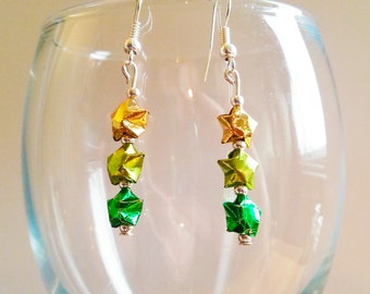 St Patrick's Day Origami Lucky Star Earrings - Luck o' the Irish