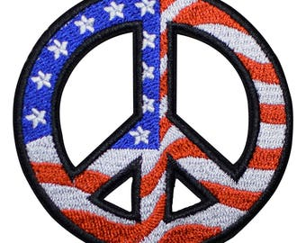 American Flag Peace Sign Patch - USA Theme (Iron on)